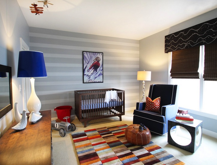 Boys striped room feature wall