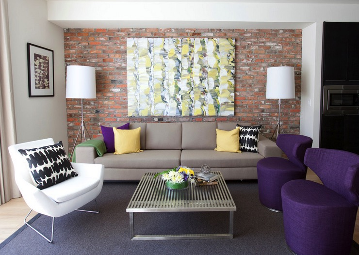 Brick Featured Wall in Living Room