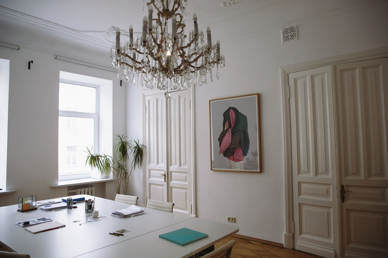 A beautiful room with two painted interior doors