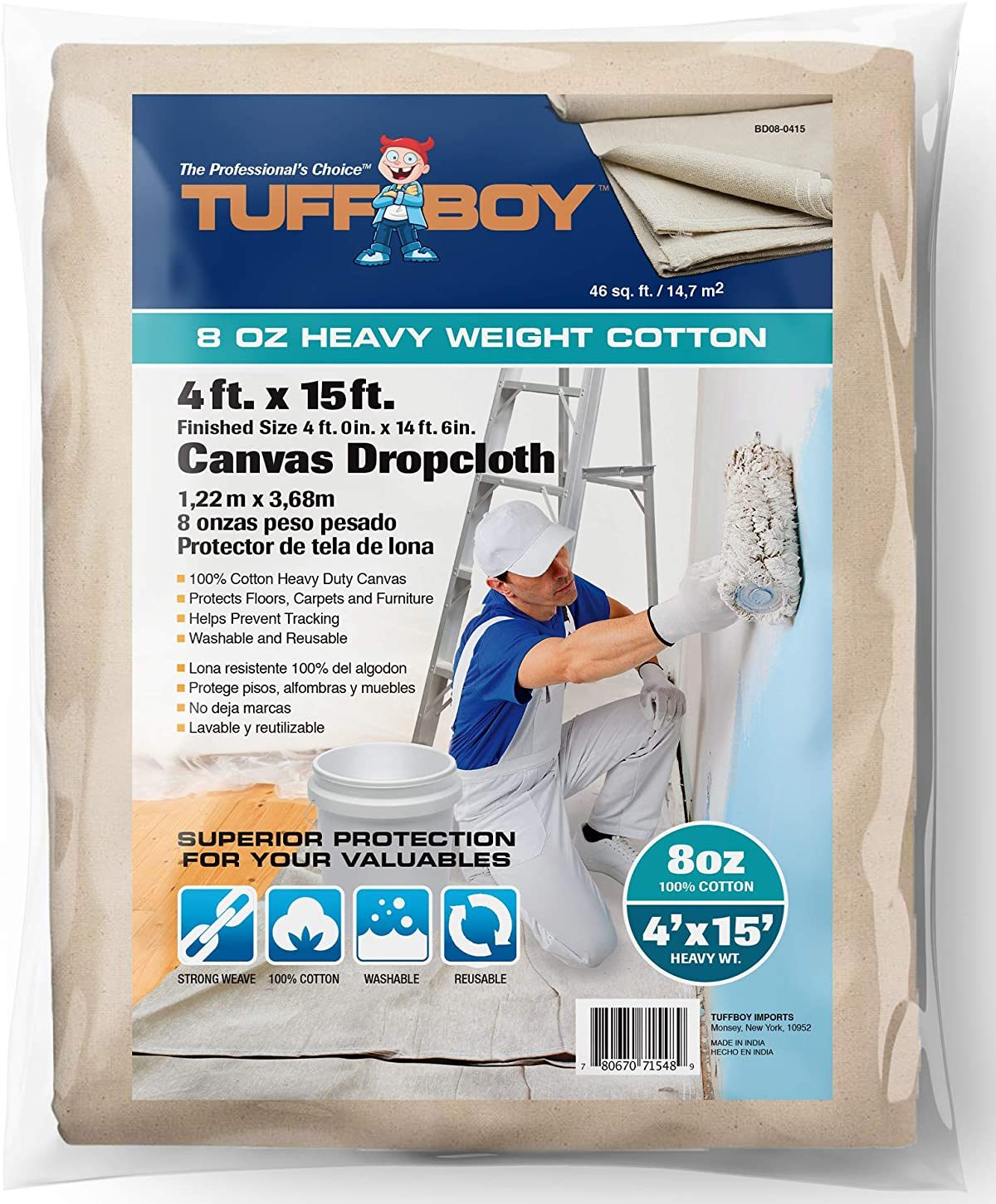 TUFFBOY Heavy Weight Cotton Canvas All Purpose Drop Cloth